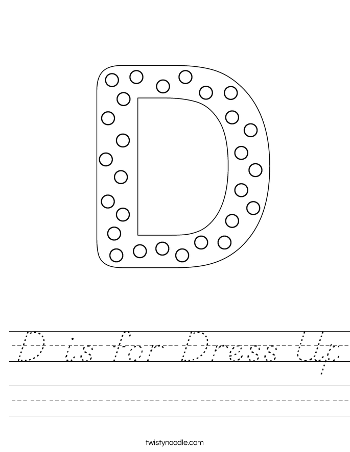 D is for Dress Up Worksheet