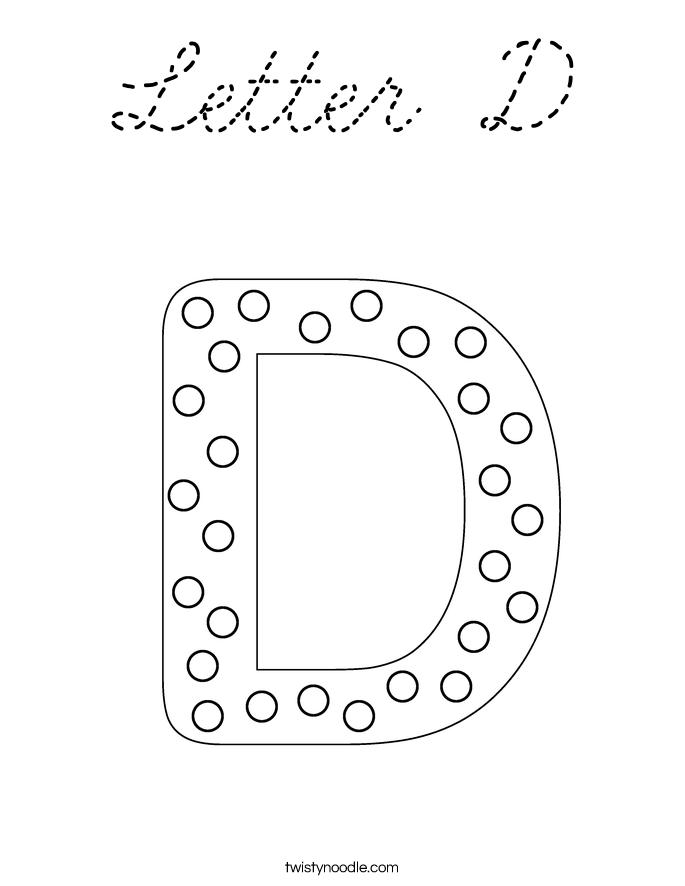 Cursive s coloring pages ~ Letter D Coloring Page - Cursive - Twisty Noodle