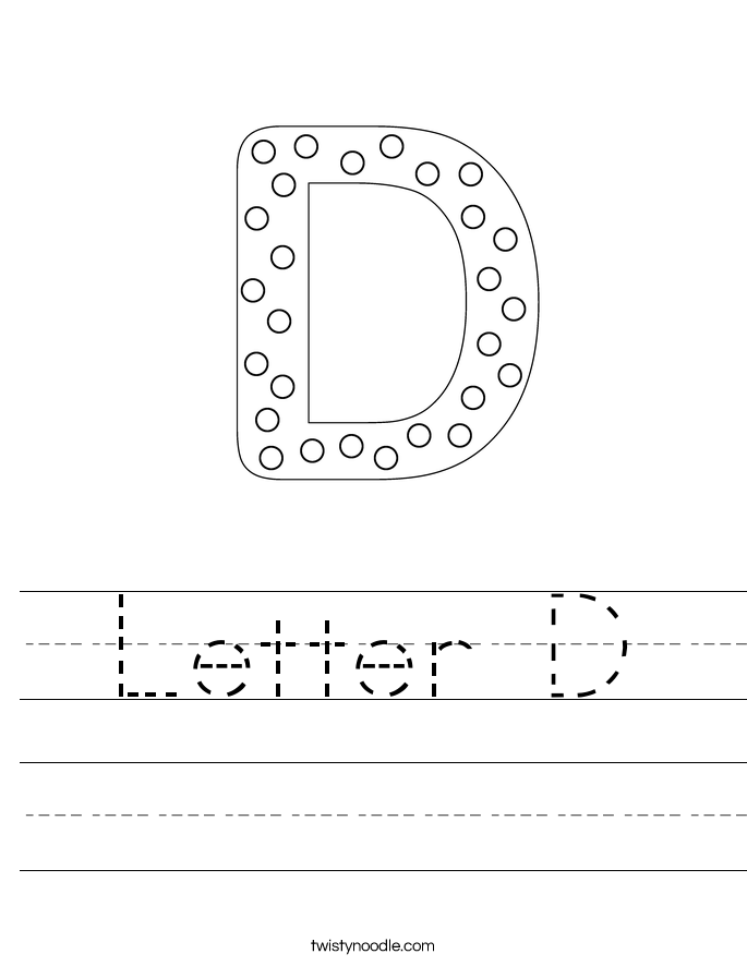 Worksheets Letter D Worksheets letter d worksheets twisty noodle handwriting sheet