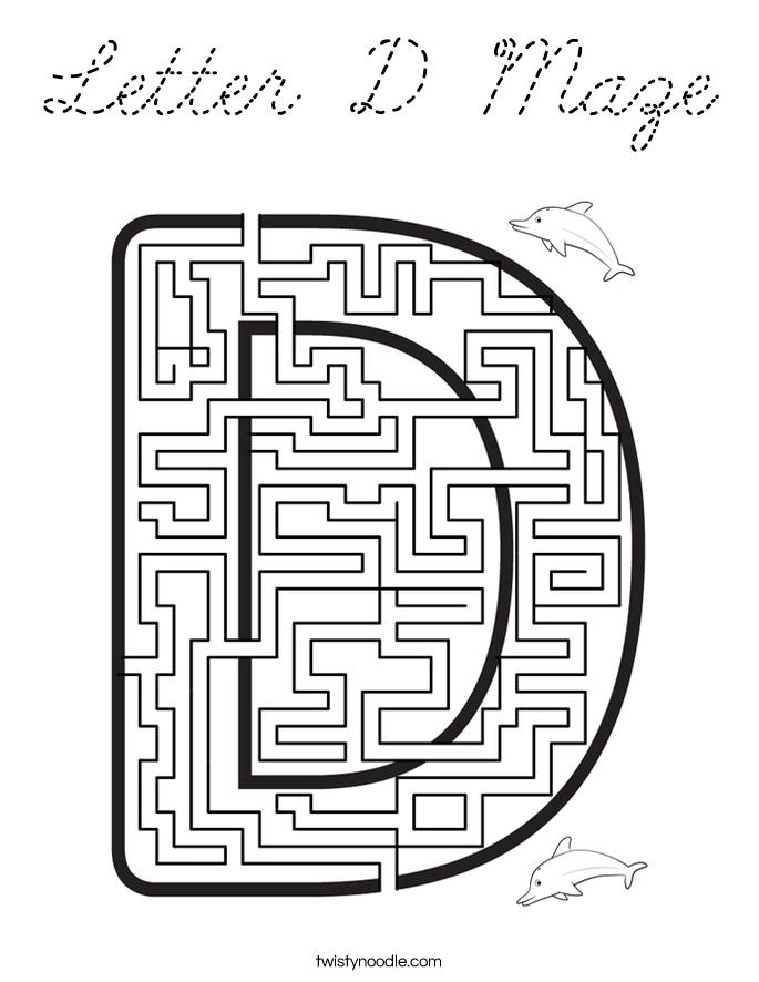Letter D Maze Coloring Page - Cursive - Twisty Noodle