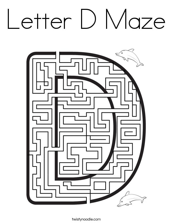 Letter D Maze Coloring Page