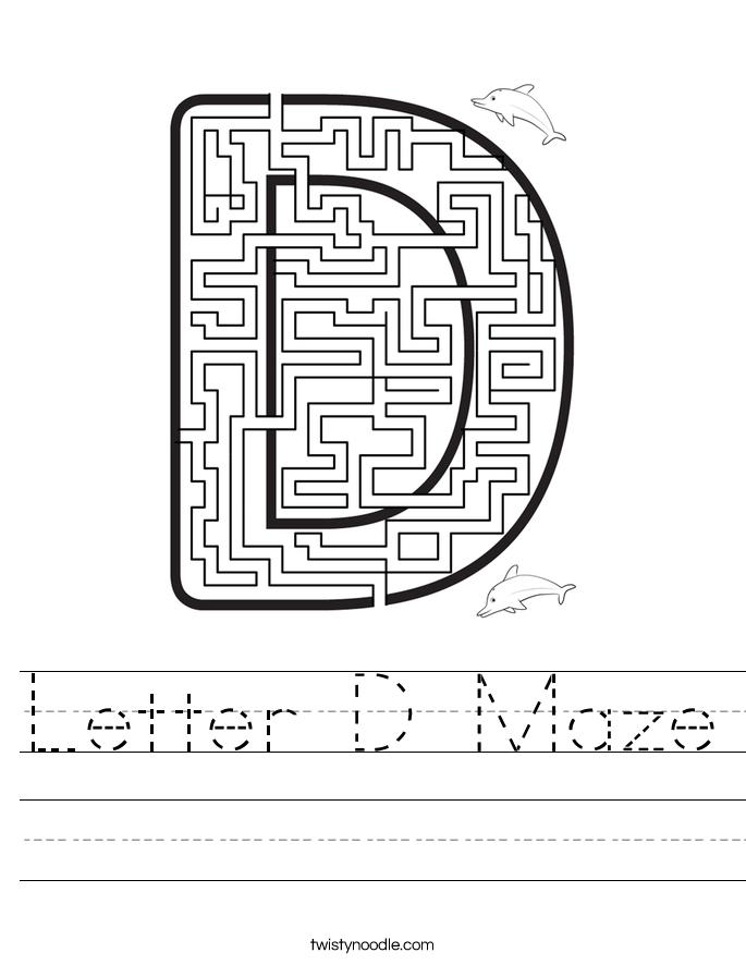 Letter D Maze Worksheet