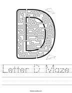 Letter D Maze Handwriting Sheet