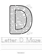Letter D Maze Handwriting Sheet
