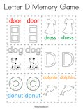 Letter D Memory Game Coloring Page