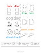 Letter D Memory Game Handwriting Sheet