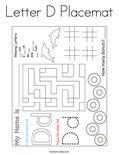 Letter D Placemat Coloring Page