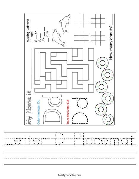 Letter D Placemat Worksheet