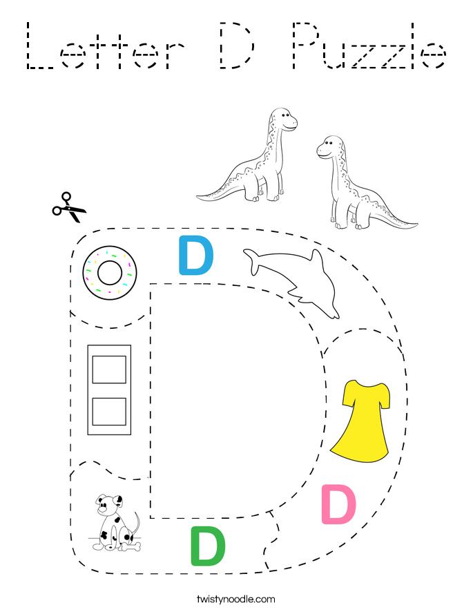 Letter D Puzzle Coloring Page