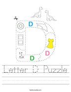 Letter D Puzzle Handwriting Sheet