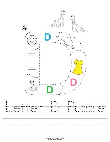 Letter D Puzzle Worksheet