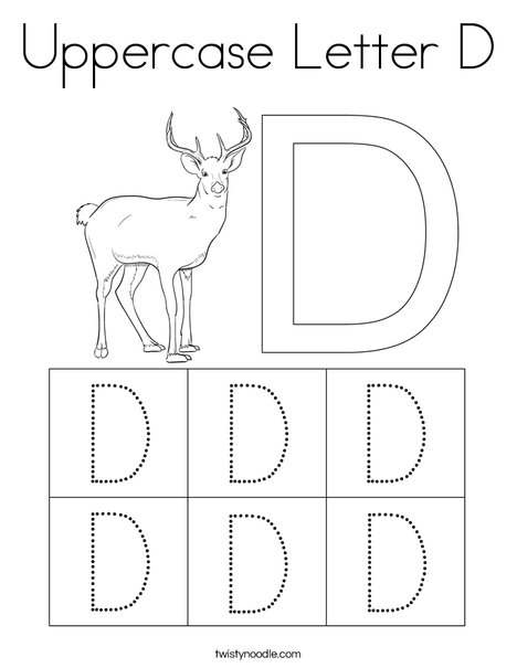 Uppercase Letter D Coloring Page Twisty Noodle