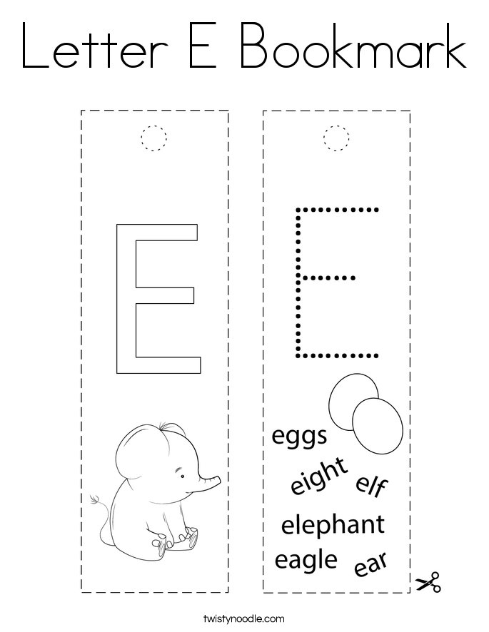 Letter E Bookmark Coloring Page