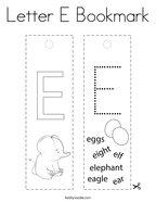 Letter E Bookmark Coloring Page