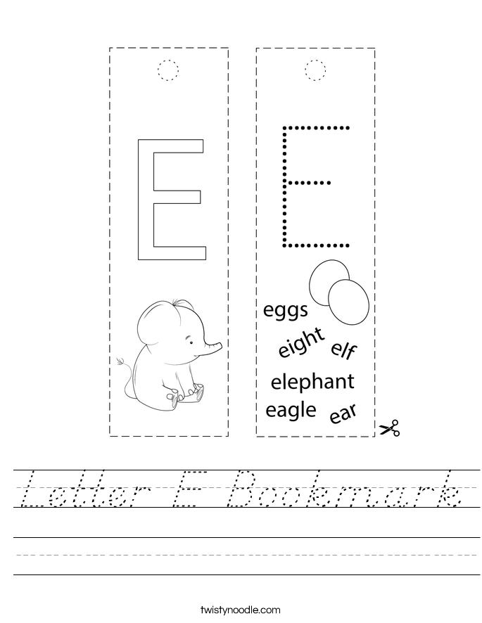Letter E Bookmark Worksheet