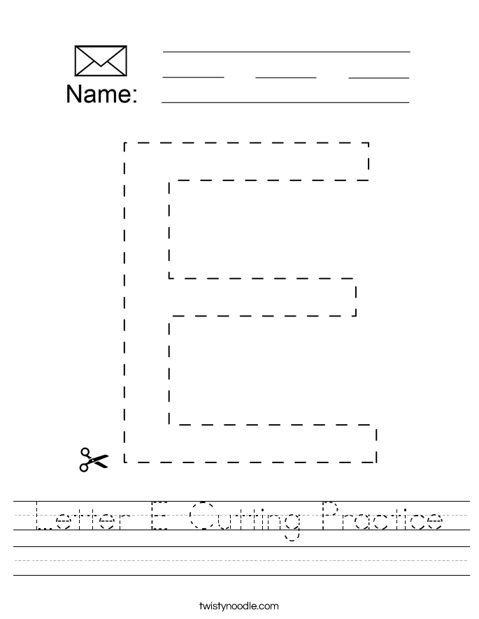 Letter E Cutting Practice Worksheet