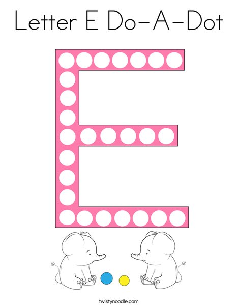 Letter E Do-A-Dot Coloring Page