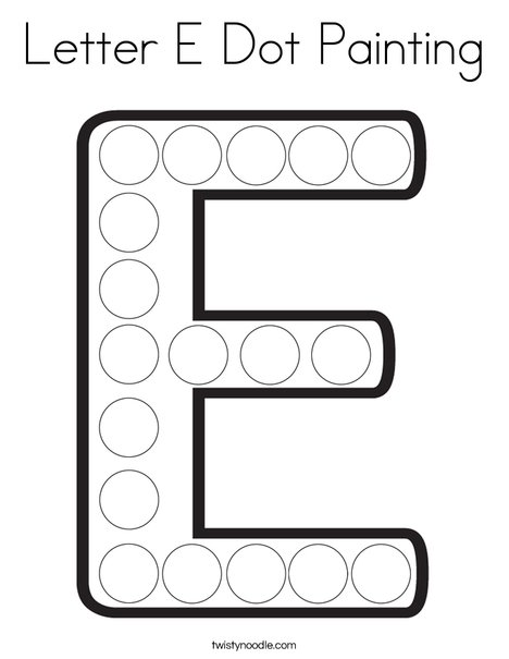 Letter E Dot Painting Coloring Page