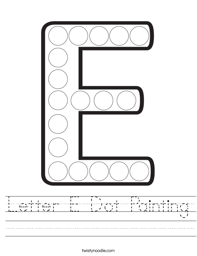 Letter E Dot Painting Worksheet