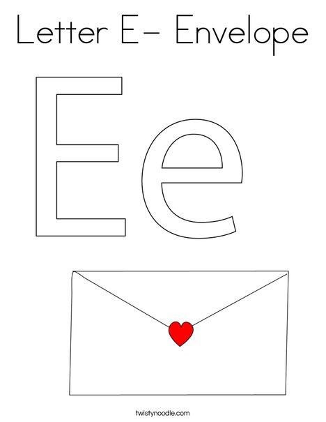 Letter E- Envelope Coloring Page