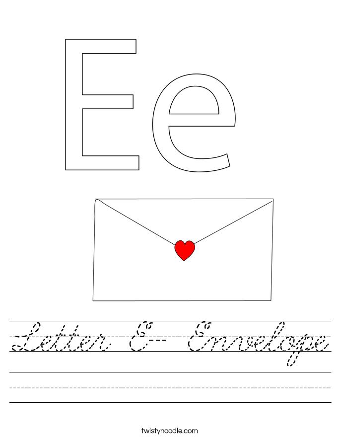 Letter E- Envelope Worksheet