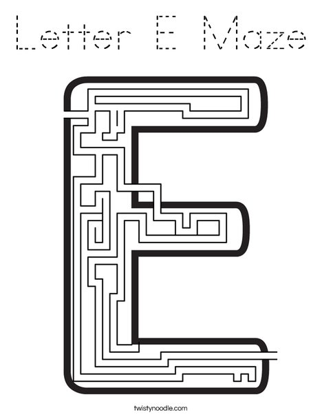Letter E Maze Coloring Page