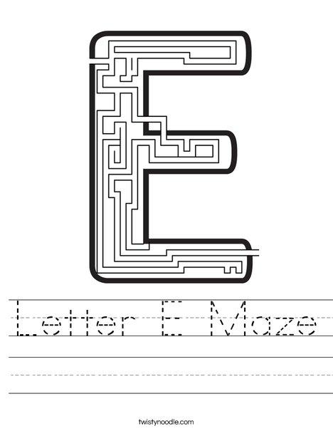 Letter E Maze Worksheet