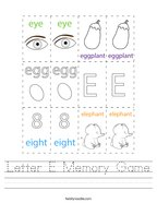 Letter E Memory Game Handwriting Sheet