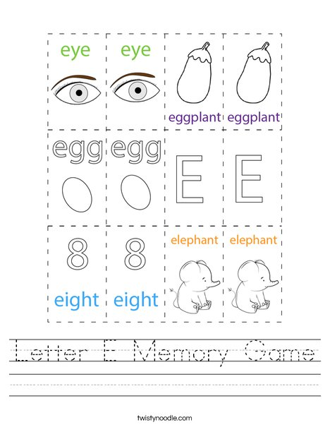 Letter E Memory Game Worksheet
