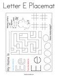 Letter E Placemat Coloring Page