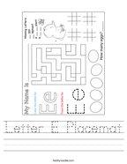 Letter E Placemat Handwriting Sheet