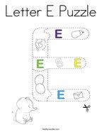 Letter E Puzzle Coloring Page