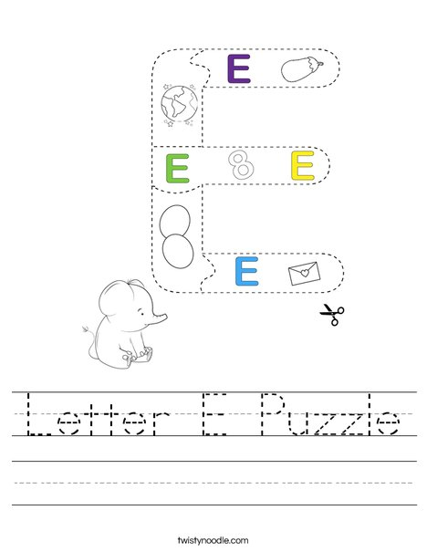 Letter E Puzzle Worksheet