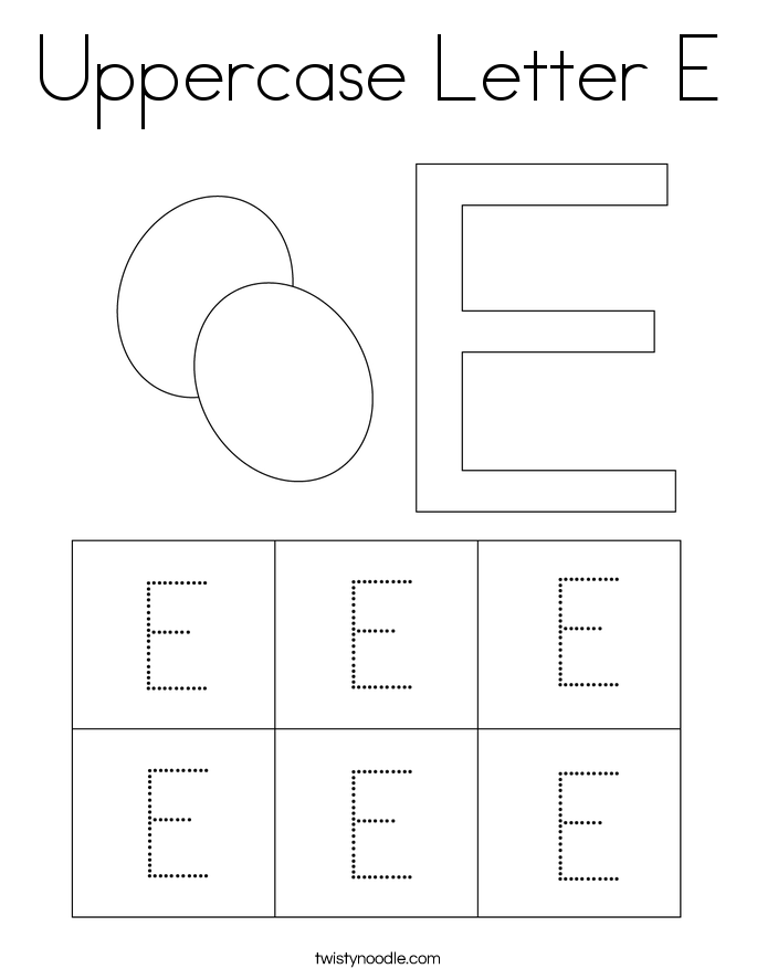 Uppercase letter e coloring page twisty noodle for Twisty noodle coloring pages letters