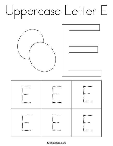 Uppercase Letter E Coloring Page