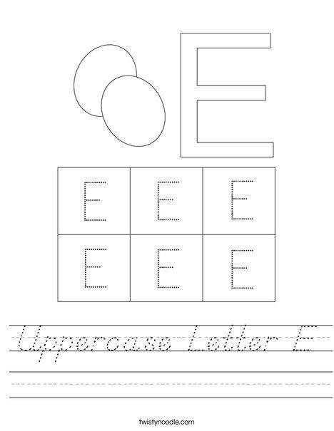 Uppercase Letter E Worksheet