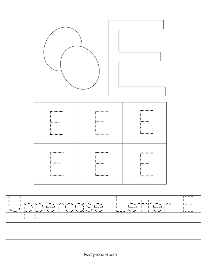 Uppercase Letter E Worksheet
