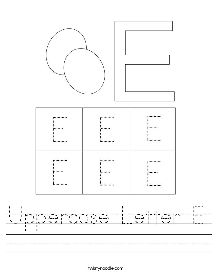 uppercase letter e worksheet twisty noodle. Black Bedroom Furniture Sets. Home Design Ideas