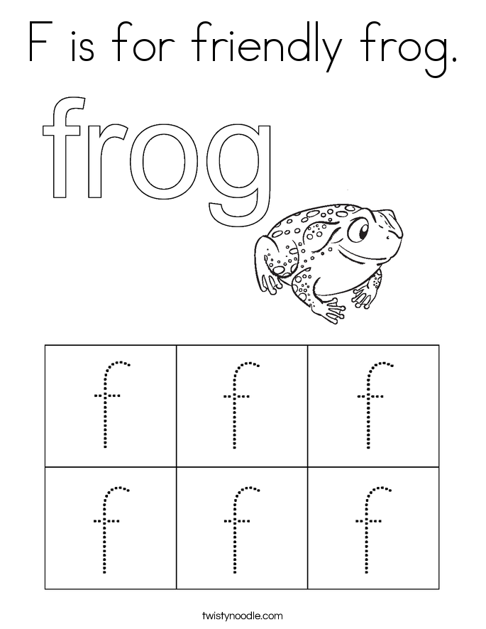 F is for friendly frog. Coloring Page