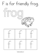 F is for friendly frog Coloring Page