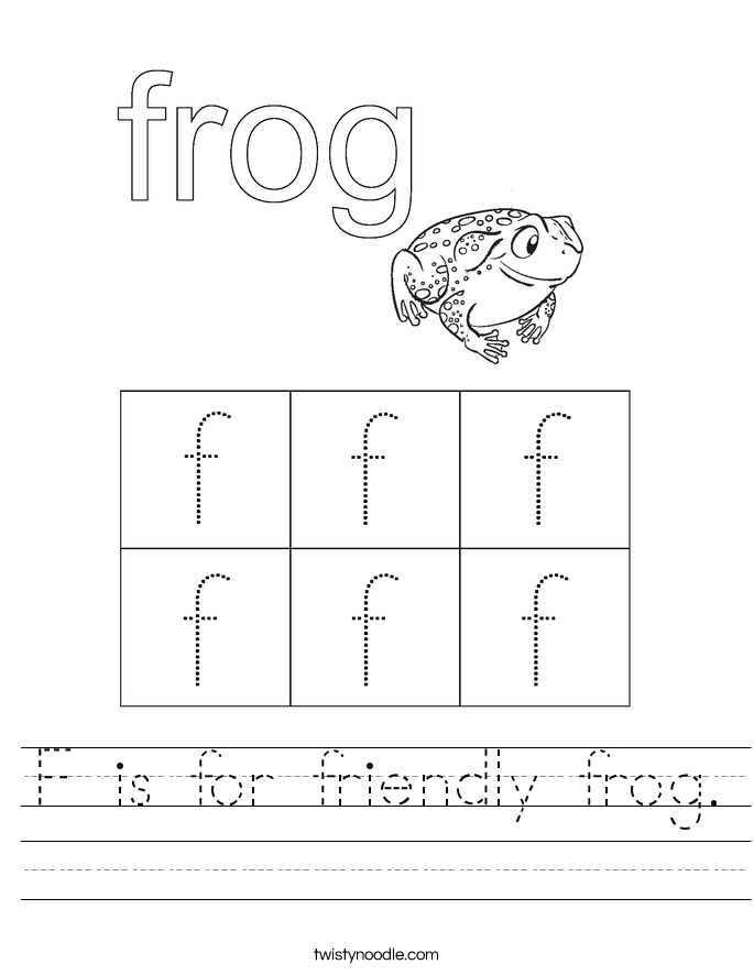 F is for friendly frog. Worksheet