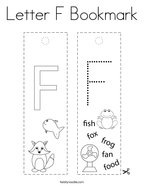 Letter F Bookmark Coloring Page