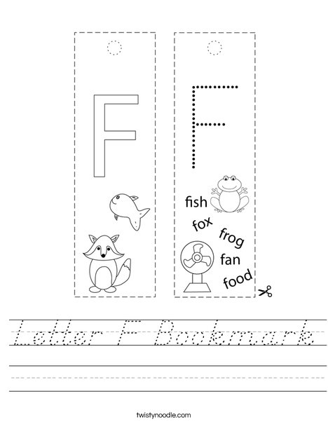 Letter F Bookmark Worksheet