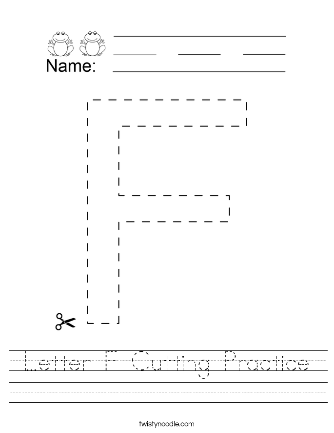 Letter F Cutting Practice Worksheet