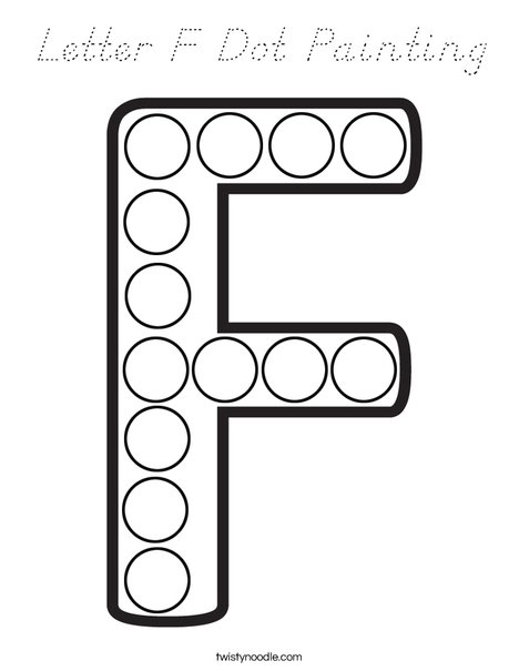 Letter F Dot Painting Coloring Page