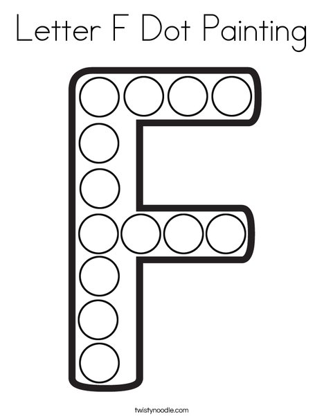 Letter F Dot Painting Coloring Page - Twisty Noodle