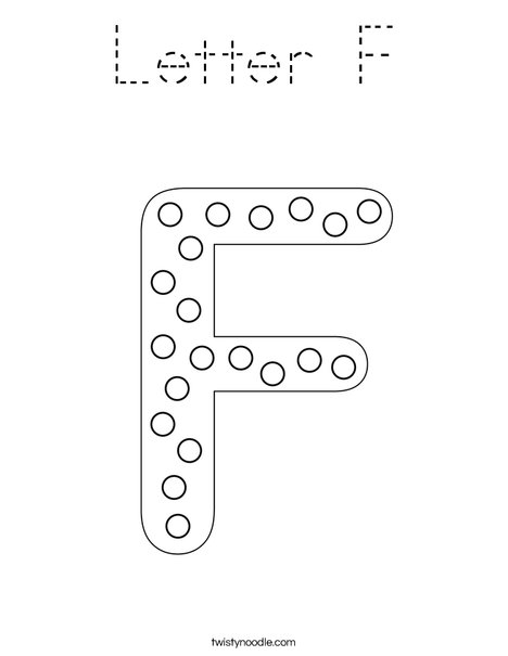 Letter F Coloring Page - Tracing - Twisty Noodle