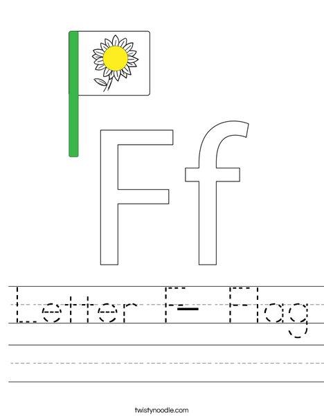 Letter F- Flag Worksheet
