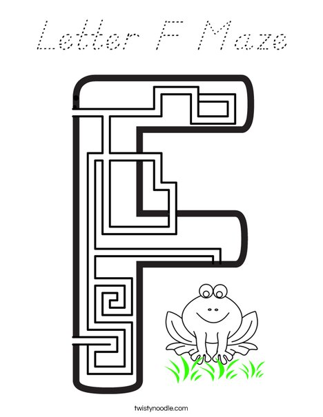 Letter F Maze Coloring Page