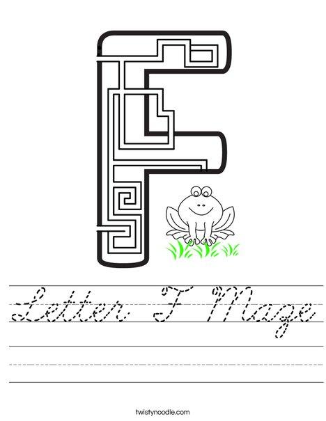 Letter F Maze Worksheet